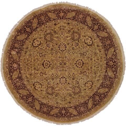 "Arshs Fine Rugs Antique Vegetable Dye Lizbeth Gold/Red Wool Handmade Round Rug - 8'1 x 8'3 - 8'1"" x 8'3"""