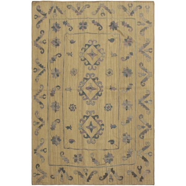 "Embroidered Ikat Kilim Conyers Gray/Blue Wool Rug- 5'11 x 7'8 - 5'11"" x 7'8"""