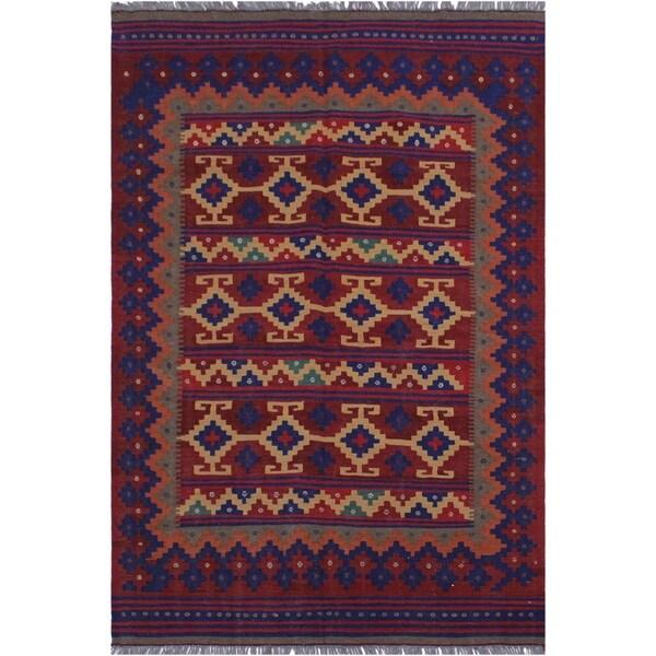 "kilim Millicen Red/Blue Hand-Woven Wool Rug(4'5 x 7'3 - 4'5"" x 7'3"""