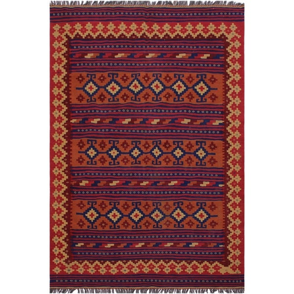 "kilim Kimberle Red/Blue Hand-Woven Wool Rug(5'5 x 7'10 - 5'5"" x 7'10"""