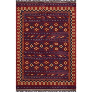 """kilim Katherin Red/Blue Hand-Woven Wool Rug(4'11 x 6'10 - 4'11"""" x 6'10"""""""