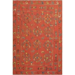 "Embroidered Ikat Kilim  Pink/Blue Wool Rug-  6'0 x 7'5 - 6'0"" x 7'5"""