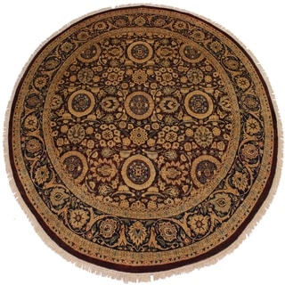 Antique Hermelin Red/Blue Vegtable-dyed Round Wool Rug - 7'11 x 8'