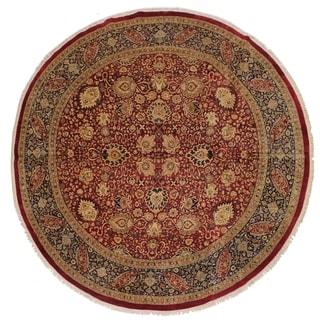Antique Vegtable Dye Florance Red/Blue Wool Round - 12'3 x 12'3