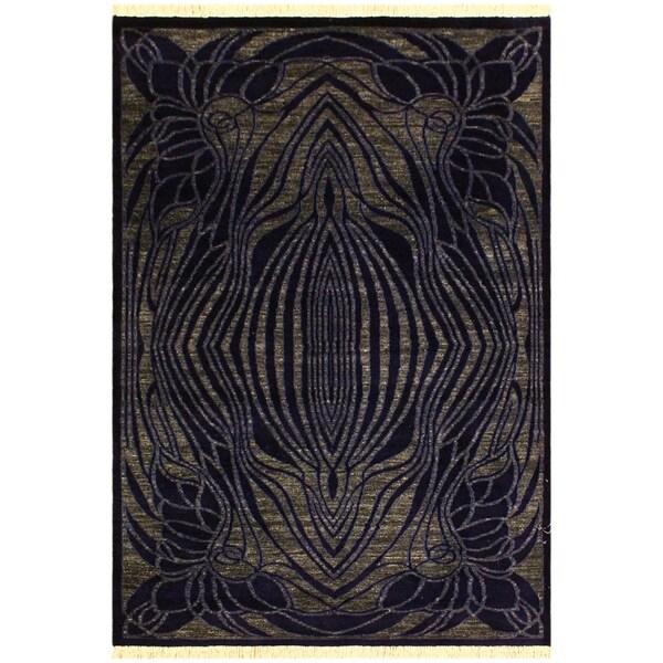 "Modern Teresita Blue/Gray Wool Rug- 4'0 x 6'0 - 4'0"" x 6'0"""