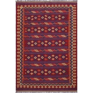 "kilim Kathalee Red/Blue Hand-Woven Wool Rug(6'4 x 9'7 - 6'4"" x 9'7"""