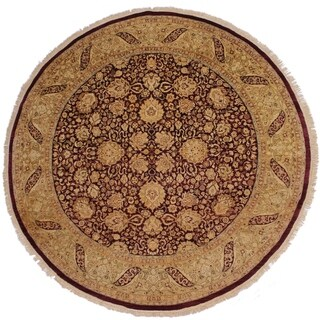 Antique Vegetable Dye Cassidy Red/Gold Wool Round Rug - 8' x 8'