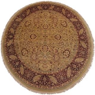 Antique Vegtable Dye Marvel Gold/Red Wool Handmade Round Rug - 8'1 x 8'1