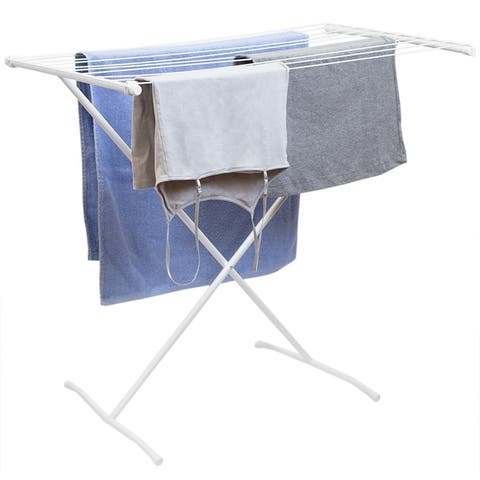 10 Rod Metal Clothes Drying Rack, White