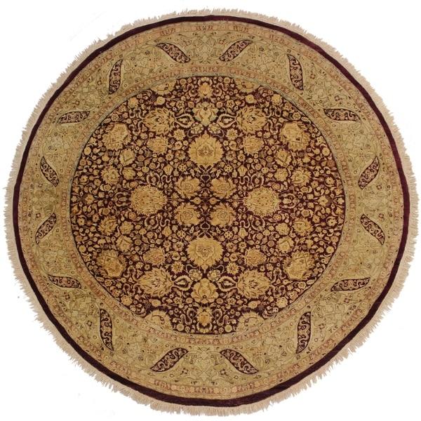 Handmade Antique Vegetable Dye Ena Red/Brown Wool Round Rug - 8' x 8'2