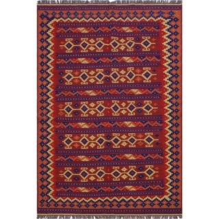 """kilim Kathelee Red/Blue Hand-Woven Wool Rug(6'2 x 9'8 - 6'2"""" x 9'8"""""""