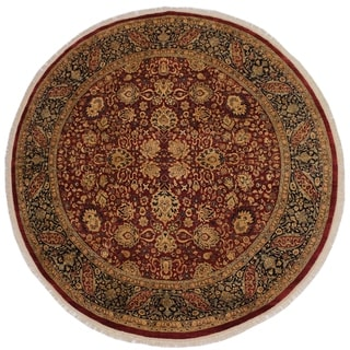 Lacie Red and Blue Wool Round Vegetable Dye Antique Rug - 7'10 x 8'1