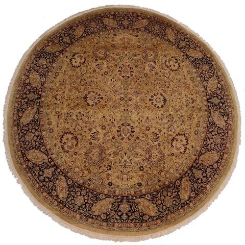 "Handmade Antique Vegetable Dye Brittani Gold/Red Wool Round Rug - 7'11 x 8' - 7'11"" x 8'0"""