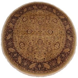 Handmade Antique Vegetable Dye Brittani Gold/Red Wool Round Rug - 7'11 x 8'