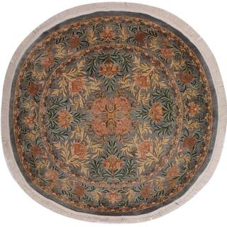 "William Morris Pak-Persian Albina Gray/Pink Wool Round - 8'1 x 8'3 - 8'1"" x 8'3"""