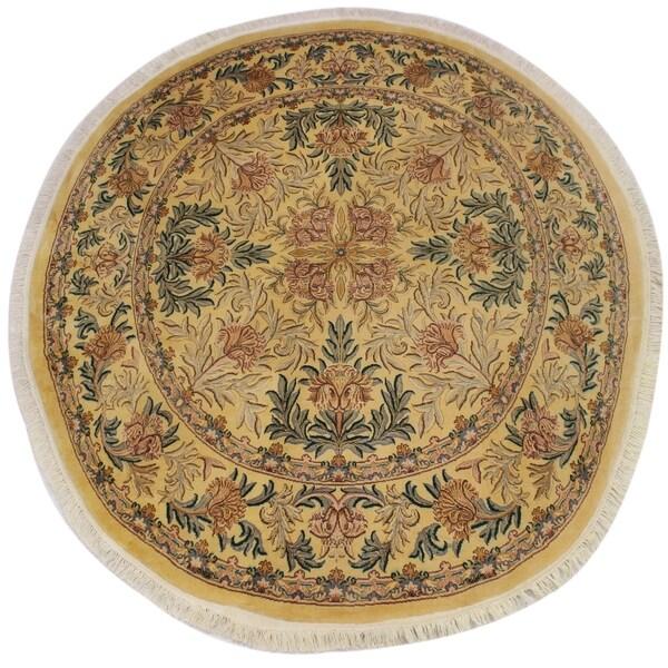 "William Morris Pak-Persian Jonna Gold/Pink Wool Round - 8'2 x 8'3 - 8'2"" x 8'3"""