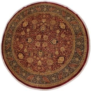 Antique Vegtable Dye Lupita Red/Blue Wool Handmade Round Rug - 11'10 x 11'11