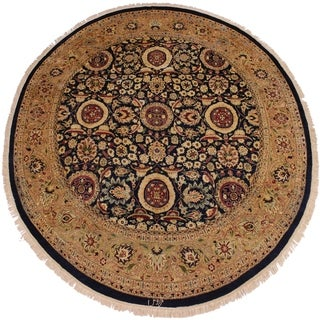 Jose Antique Vegtable Dye Blue/Tan Wool Round Area Rug - 7'11 x 7'11