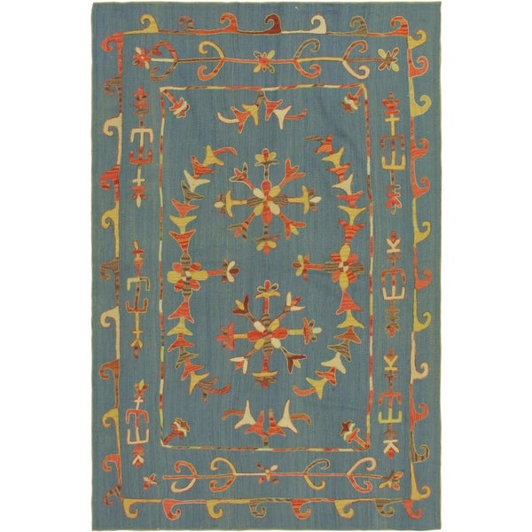 "Embroidered Ikat Kilim Cooley Blue/Rust Wool Rug- 5'8 x 7'9 - 5'8"" x 7'9"""