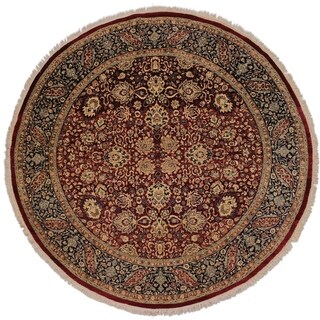 Antique Vegetable Dye Kathalee Red/Blue Wool Round Rug - 7'11 x 8'2