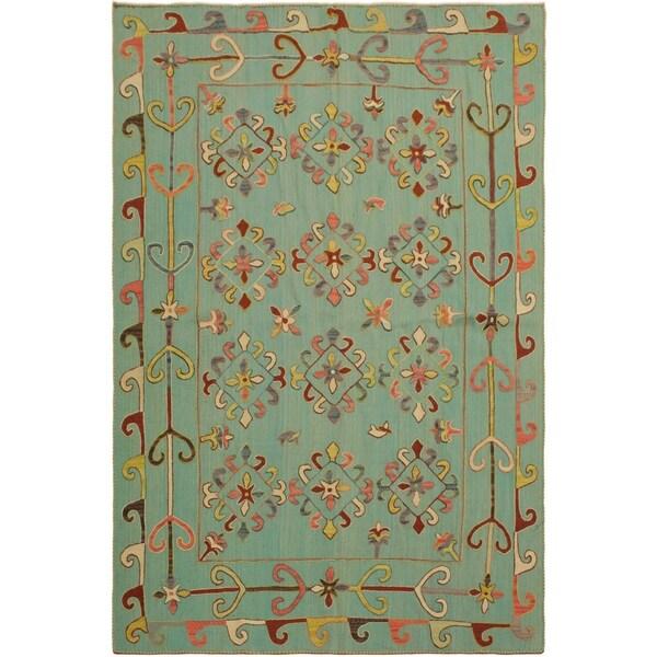 "Embroidered Ikat Kilim Cooke Green/Pink Wool Rug- 5'9 x 7'8 - 5'9"" x 7'8"""