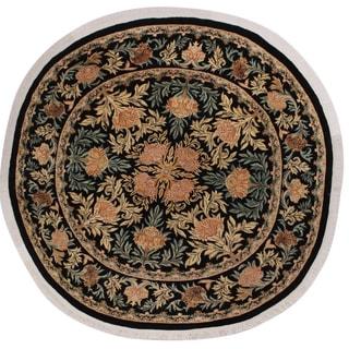 "William Morris Pak-Persian Irena Black/Tan Wool Round - 8'0 x 8'2 - 8'0"" x 8'2"""