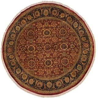 Antique Vegetable Dye Jamila Red/Blue Wool Round Rug - 9'10 x 10'2
