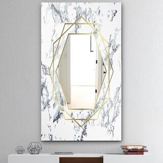 Designart 'Marbled Diamond 1' Mid-Century Mirror - Wall Mirror - Gold