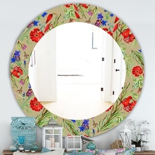 Designart 'Red Purple and Little Blue Blossoming Flowers' Traditional Mirror - Frameless Oval or Round Wall Mirror - Red