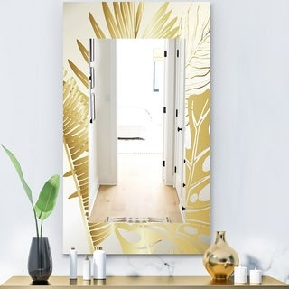 Designart 'Capital Gold Botanical Bliss 9' Glam Mirror - Contemporary Vanity Mirror