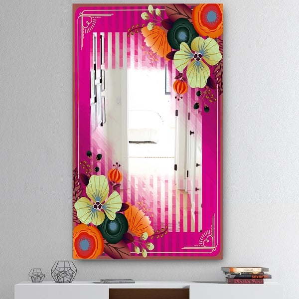 Designart 'Fuschia Border and Flowers' Mid-Century Mirror - Wall Mirror - Pink