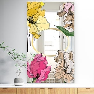 Designart 'Garland Sweet 24' Traditional Mirror - Large Mirror - Pink