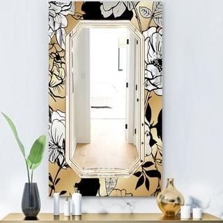Designart 'Gold Botanical Obsidian 3' Glam Mirror - Decorative or Vanity Mirror - Gold