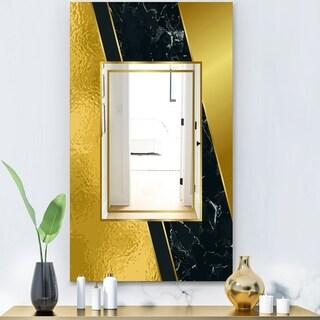 Designart 'Marbled Marvelous 6' Glam Mirror - Decorative Modern Mirror - Gold