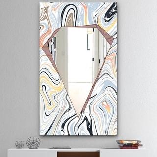 Designart 'Marbled Diamond 7' Mid-Century Mirror - Large Wall Mirror - Multi