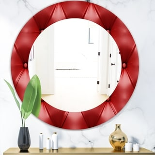 Designart 'Leather Print III' Modern Mirror - Frameless Oval or Round Wall Mirror - Red