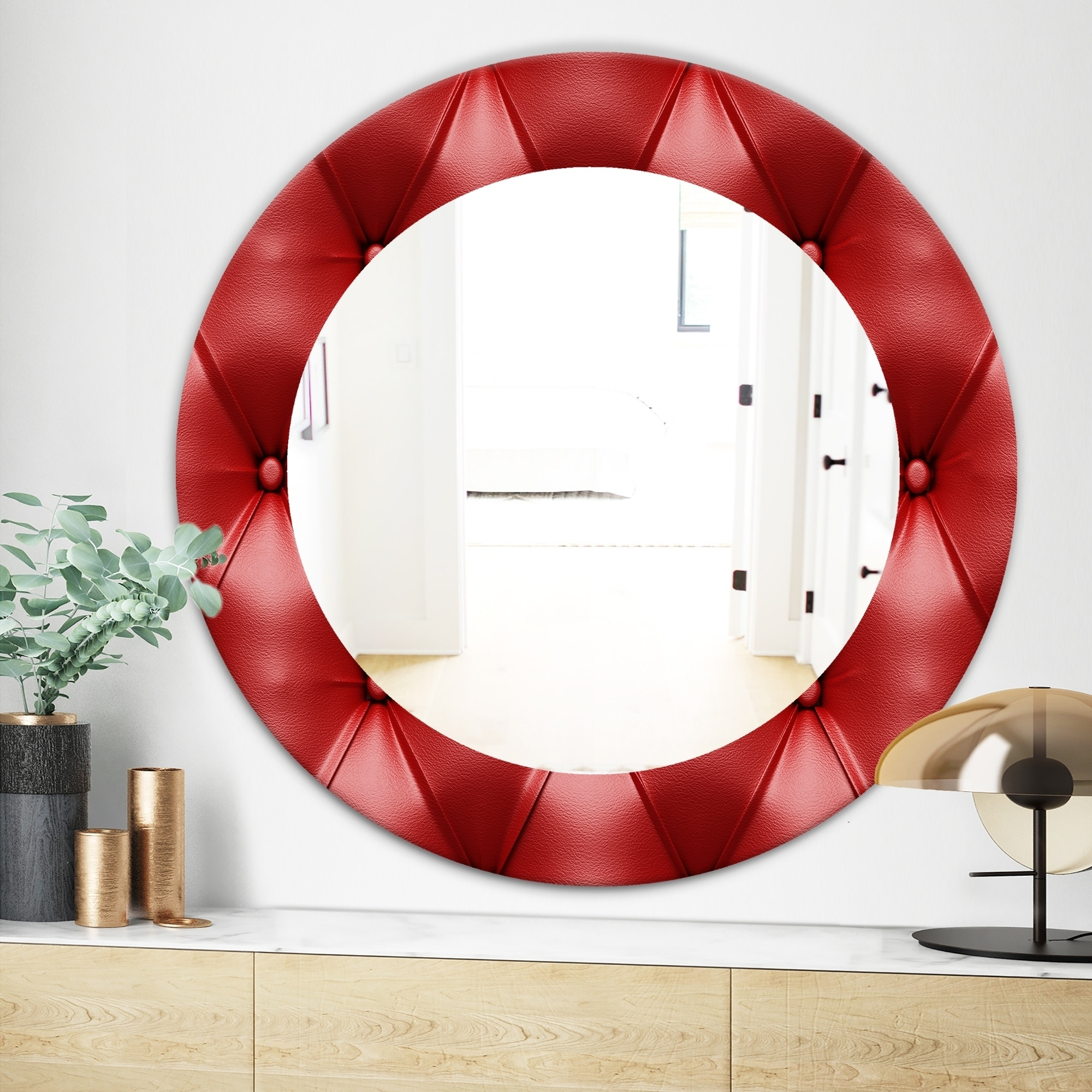Designart \'Leather Print III\' Modern Mirror - Frameless Oval or Round Wall  Mirror - Red