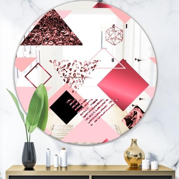Designart 'Triangular Spacy Spheres 3' Mid-Century Mirror - Oval or Round Decorative Mirror - Pink