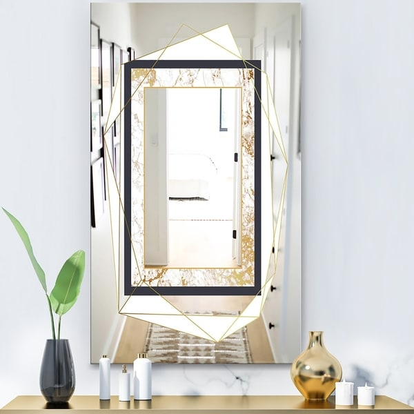 Designart 'Capital Gold Essential 11' Glam Mirror - Wall Mirror - White