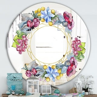 Designart 'Efflorescent Gold Abundance 2' Cabin and Lodge Mirror - Oval or Round Wall Mirror - Purple