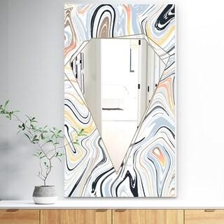 Designart 'Marbled Diamond 5' Traditional Mirror - Decorative Mirror - White