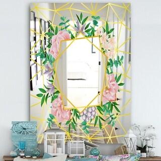 Designart 'Efflorescent Gold Pink 7' Cabin and Lodge Mirror - Vanity Mirror