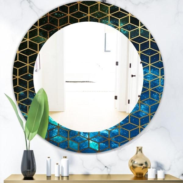 Designart 'Capital Gold Honeycomb 11' Modern Mirror - Frameless Oval or Round Wall Mirror - Blue