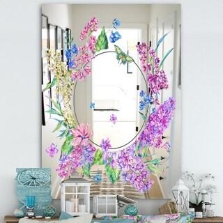 Designart 'Garland Sweet 4' Cabin and Lodge Mirror - Large Mirror - Purple