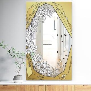 Designart 'Gold Botanical Blooming 7' Traditional Mirror - Floral Vanity Mirror Mirror - Gold