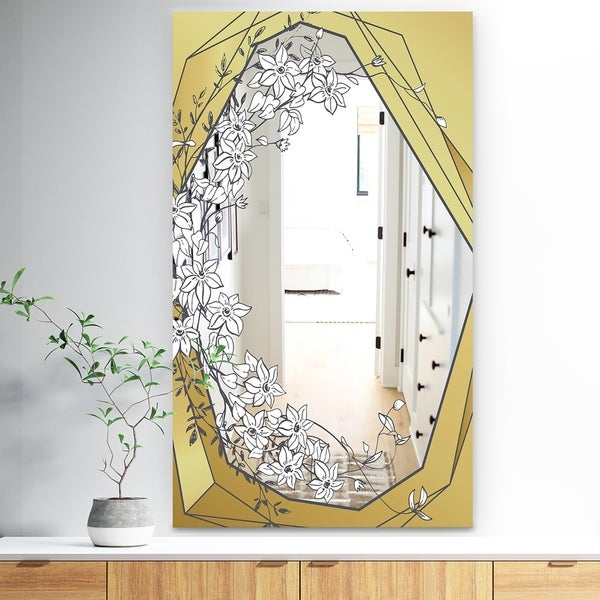 Designart 'Gold Botanical Blooming 7' Traditional Mirror - Floral Vanity Mirror Mirror - Gold