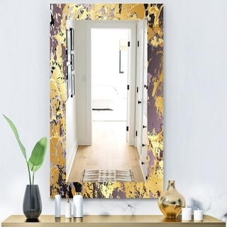 Designart 'Marbled Marvelous 1' Modern Mirror - Frameless Contemporary Bathroom Mirror - Gold