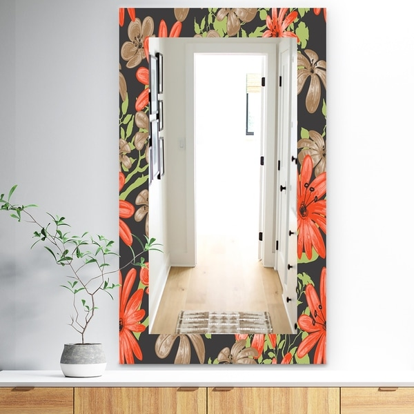 Designart 'Red and Brown Flowers With Of Green Branches' Traditional Mirror - Frameless Wall Mirror - Red