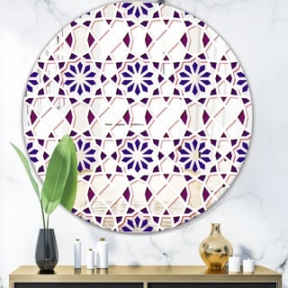Designart 'Purple Tiles' Mid-Century Mirror - Oval or Round Decorative Mirror - Purple
