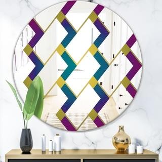 Designart 'Purple Tiles II' Mid-Century Mirror - Round Wall Mirror - Blue